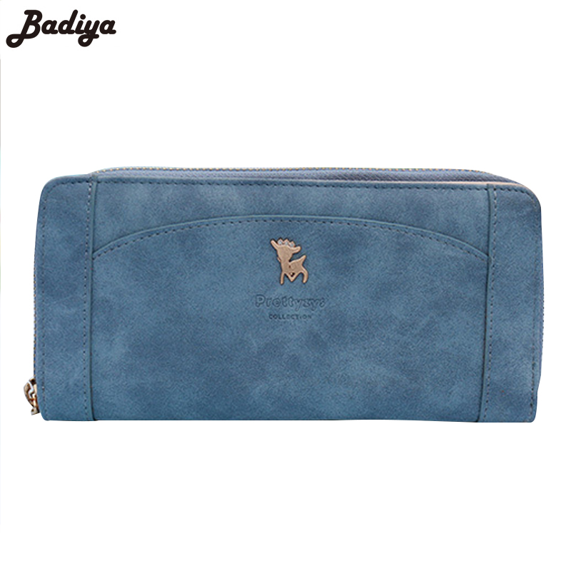 New College Girl Fashion Candy Color Wallets Snap Zip Multi-Card Purse Female Card Slots Matte Deer PU Leather Long Wallet