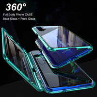 Magnético Flip caso para Samsung A50 caso Galaxy A70 A30 A10 A20 A60 S10E S9 S8 más A8 A7 2018 funda de vidrio de doble cara M10 M20 M30