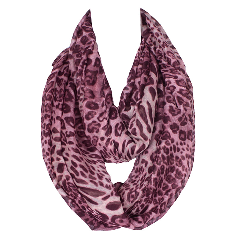 2019 Winter Warm Infinity Women Fashion Scarf Leopard Print Polyester Ring Scarves <font><b>180*90</b></font> Cm image