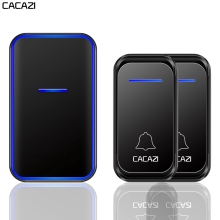 CACAZI Wireless Doorbell Waterproof 300M Remote 1 2 Button 1 2 Receiver US EU UK Plug Smart Home Welcome Calling Door Bell Chime cacazi wireless door bell waterproof battery 2 transmitter 3 receiver us eu uk au plug home bell wireless chime ring bell