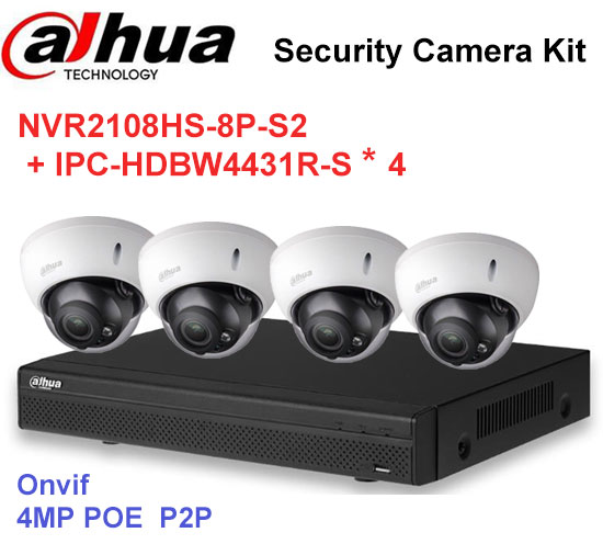 Dahua NVR Security CCTV Camera Kit NVR2108HS-8P-S2 Motorized Zoom Camera IPC-HDBW4431R-S P2P Surveillance System Easy instalL ...