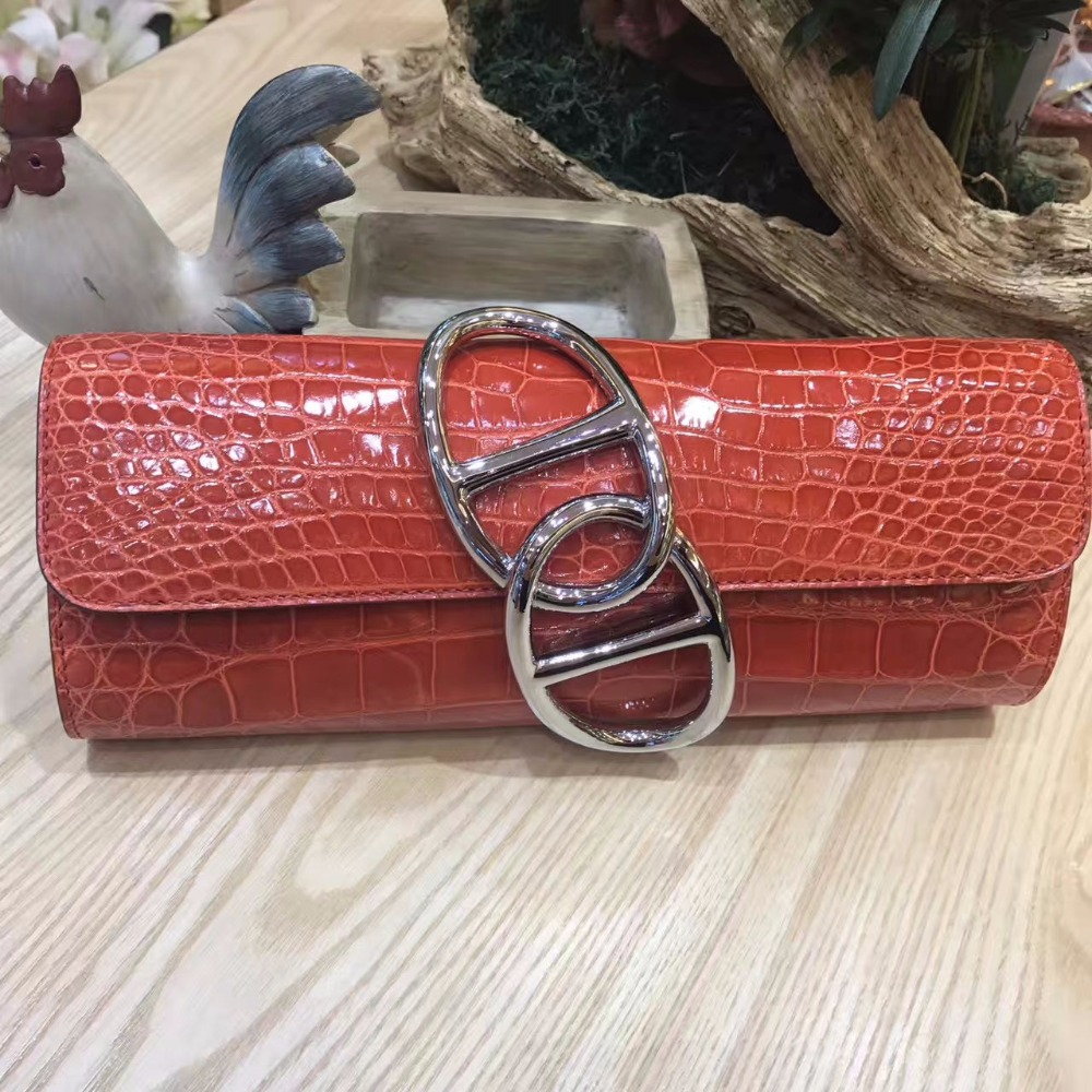 100% genuine crocodile leather skin women clutch wallets and purse, shinny brightness alligator skin wallets women clutch 100% genuine crocodile leather skin women wallets and purse clutch brigher shinny alligator skin wallets women clutch long size