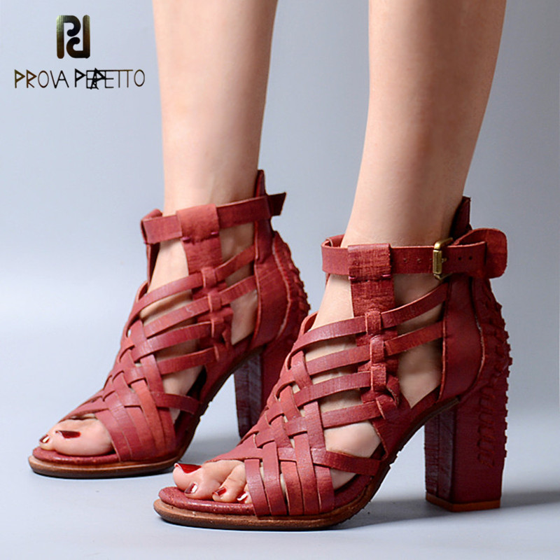 Prova Perfetto Euramerican Cross-tied Narrow Band Ankle Buckle Strap High Heel Shoes Open Toe Cow Genuine Leather Woman Sandals beango mixed color women sandals women square high heel shoes woman narrow band buckle open toe concise sandal shoes for lady