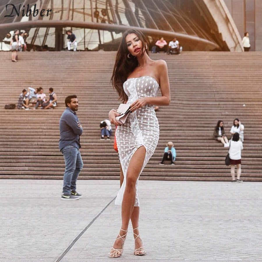 Nibber 2019 весеннее Сетчатое Двухслойное сшитое женское Клубное вечернее платье летнее женское Повседневное платье без рукавов и бретелек