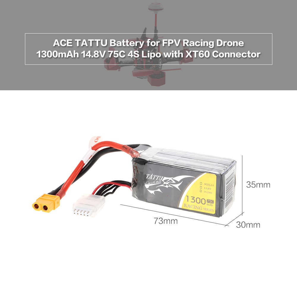 1300 mAh 14,8 V 75C 4S1P 4S Lipo Батарея с XT60 разъем для FPV Racing Drone вертолетная батарея