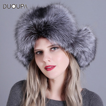 New fox fur Lei Feng Cap curling high top warm lady hat winter female thickening ladies