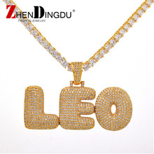 Custom Name Bubble Letters Chain Pendants Necklaces Men's Jewelry With 4MM Gold Silver Tennis Chain