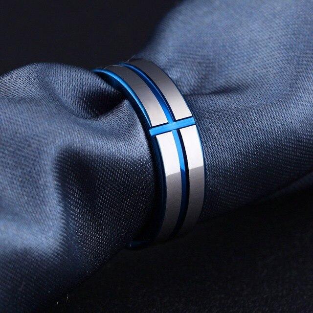 Купить модные мужские кольца синего цвета из вольфрамовой стали ювелирные