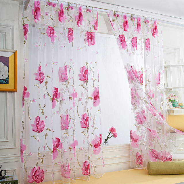 Vines Leaves Tulle Door Window Curtain Drape Panel Sheer Scarf Valances Drapes In Living Room Home Decor Sheer Voile Valances 3
