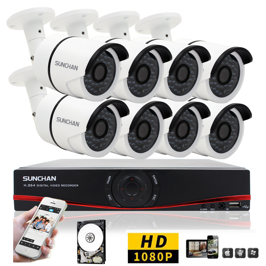 SunChan AHD H 8CH CCTV System 1080P DVR 3000TVL Outdoor Video Surveillance font b Security b