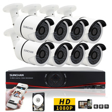 3000TVL AHD-H SunChan 8CH Sistema CCTV 1080 P DVR Video Vigilancia de Seguridad Al Aire Libre Sistema de Cámaras de 8 canales DVR Kit 1 TB
