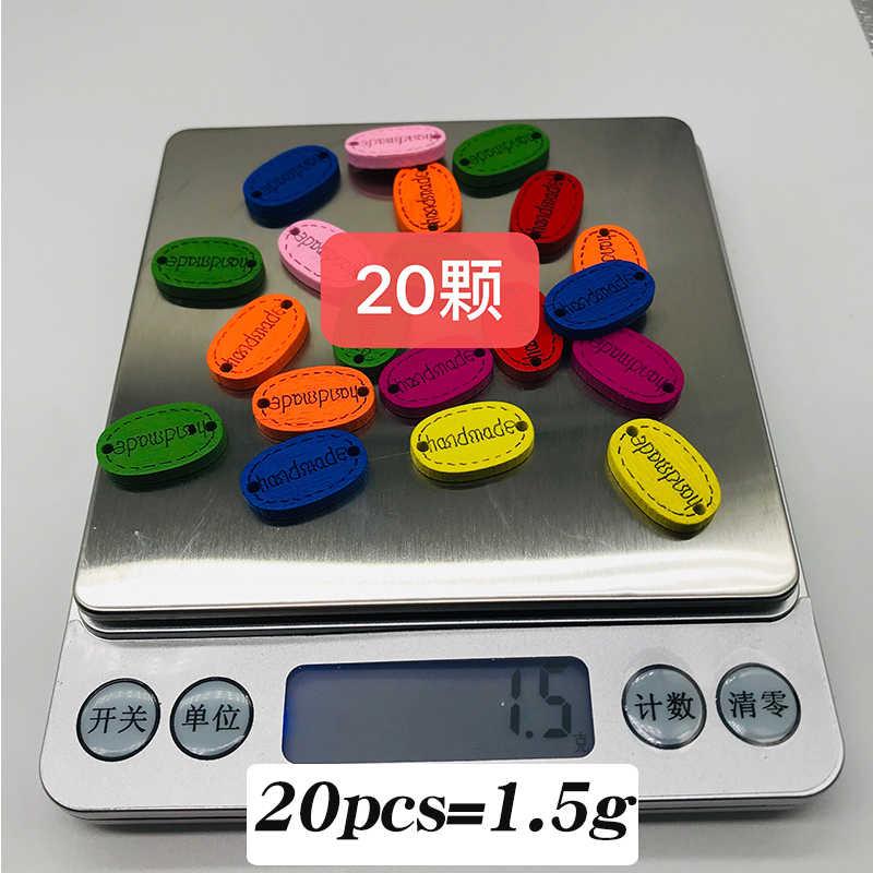 "XinDong รูปไข่สีผสมปุ่มไม้ ""Hand Made"" อุปกรณ์เสริมสำหรับอุปกรณ์เสื้อผ้า Handmade Scrapbooking DIY 10 pcs"