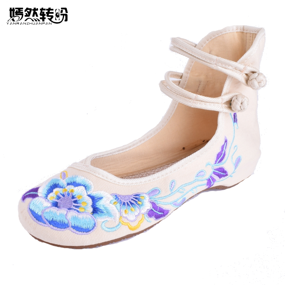 Vintage Women Flats Ballet Flast Chinese Dance Old Beijing Red Blue Beige Cloth Shoes Platform Canvas Casual Flats women flats summer new old beijing embroidery shoes chinese national embroidered canvas soft women s singles dance ballet shoes