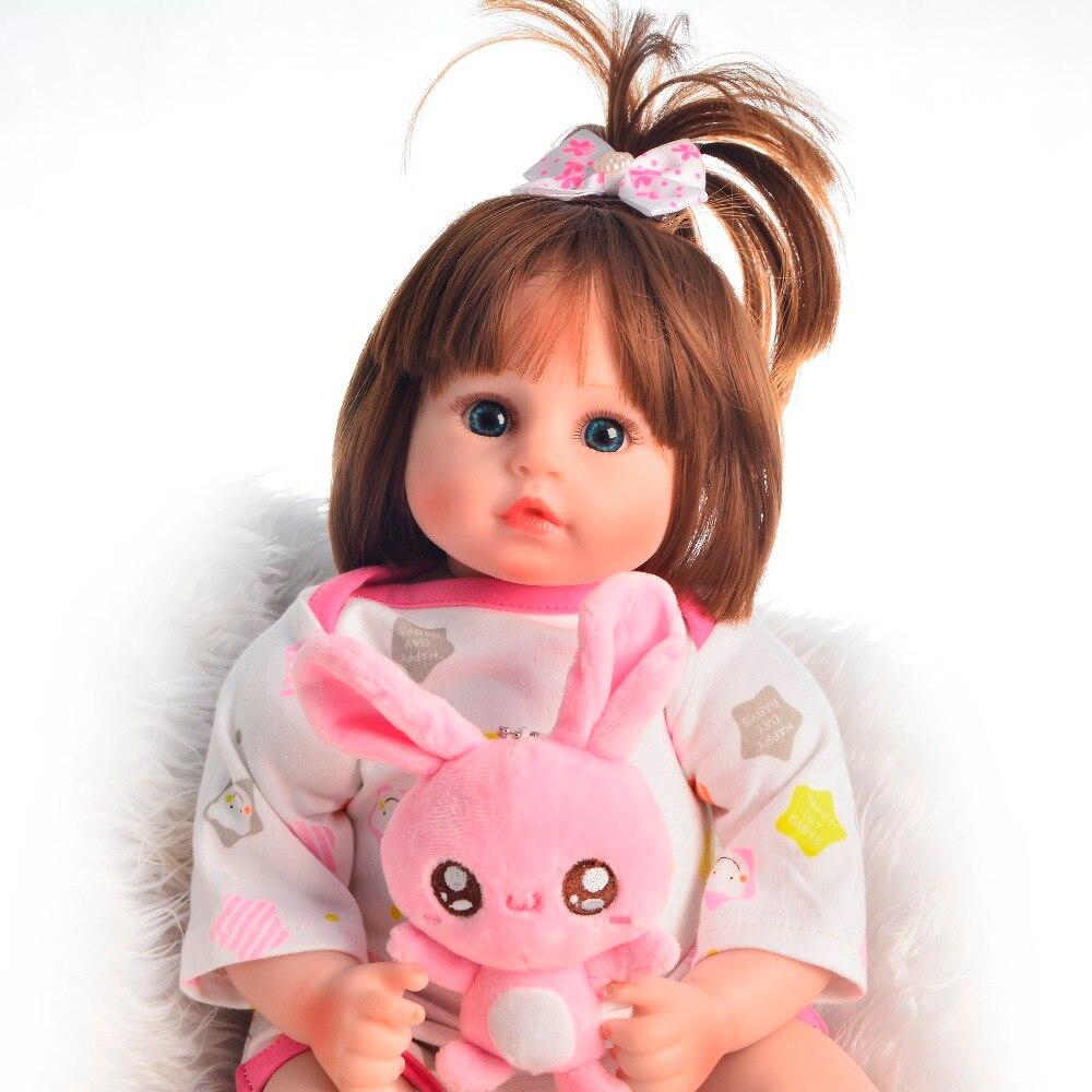 Lapin rose Style Bebe fille reborn 48 cm Silicone reborn bébé vivant bambin poupées pour enfant cadeau Bonecas reborn poupées surprise