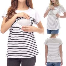 Women's pregnant women short-sleeved striped stitching mother breastfeeding baby jacket pregnant women pure cotton O-neck tops(China)