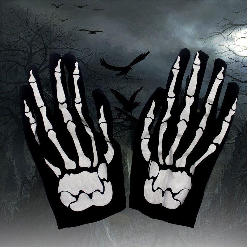 Men Women Halloween Decoration Black Cloth Skeleton Ghost Claw Gloves Masquerade Party Costumes Horror Devil Supply