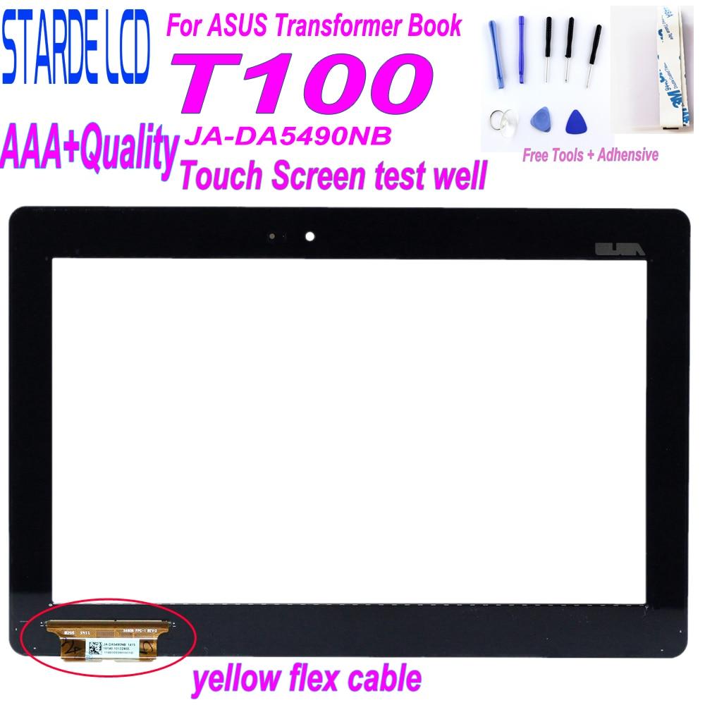 """מקרן קיר חדש מקורי 10.1"""" עבור ASUS Transformer Book T100 T100TA JA-DA5490NB Touch Screen Digitizer לוח חיישן עם צהוב Flex כבל (1)"""