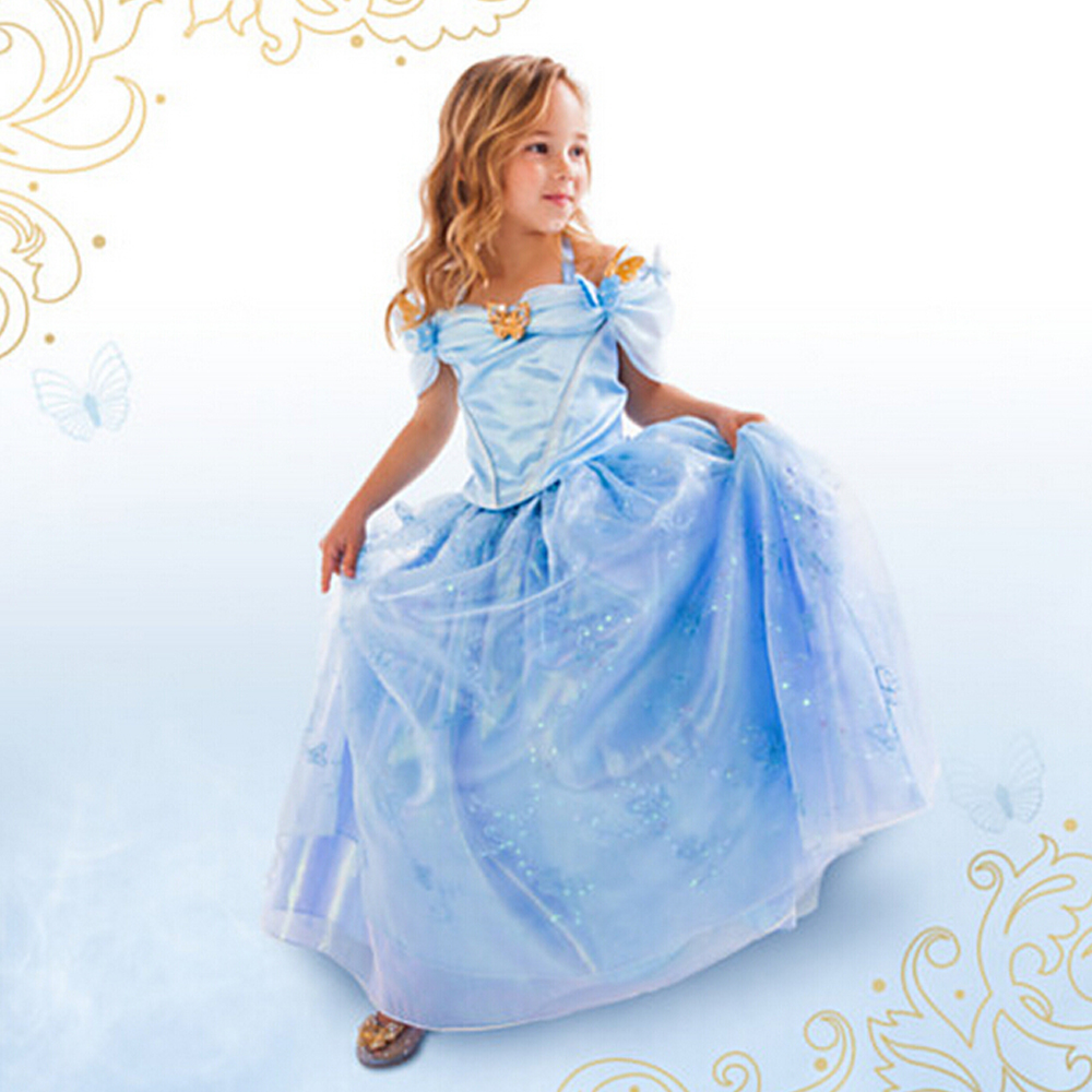 New Baby Girls Cinderella Dress Limited Edition Costume Children Girl Princess Cosplay Dresses Kids Party Gift Fancy Clothes 2015 new style movies cinderella princess dresses for kids nice blue princess dresses cinderella fancy costumes child s clothes