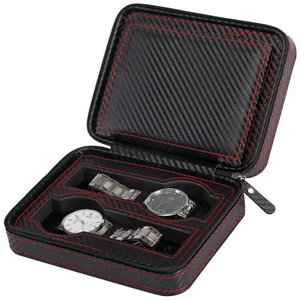 Image 4 - נייד תיבת שעון סיב עור מפוצל נסיעות מקרה שעון תיבת אחסון ארגונית פחמן שעון מקרה 2/4/8 חריץ מעולה עמיד d20