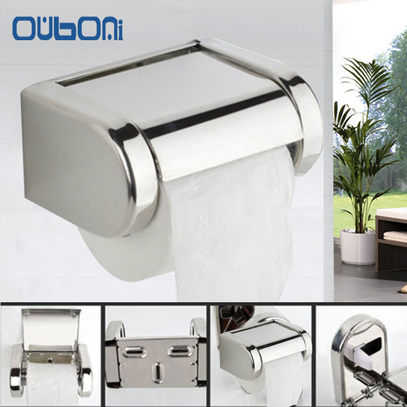 ouboni brand wall mounted toilet paper holder chrome crystal papel higienico holders bathroom accessories tissue roll