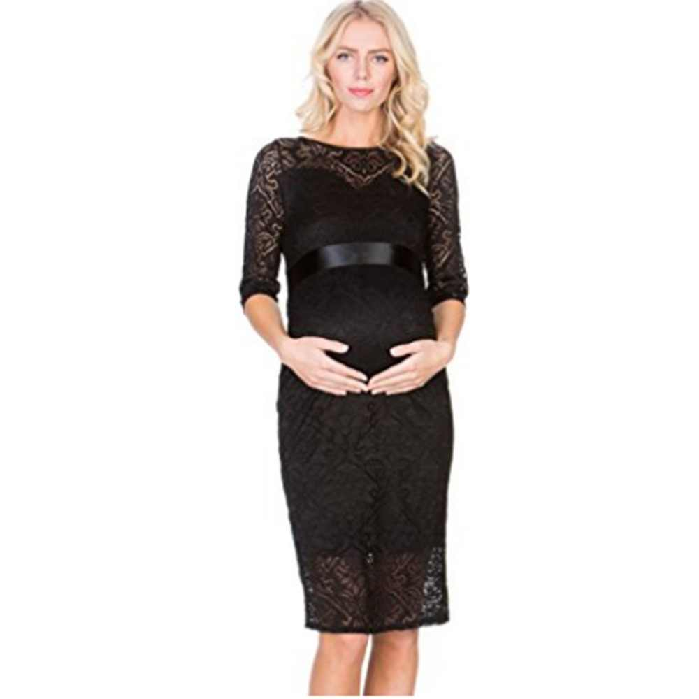 95dd84a3097d6 Puseky Sexy Lace Elegant Maternity Officia Dress Half Sleeve O-Neck Two  Layers Maternity Dress for Pregnancy Evening Party Dress