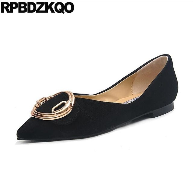 cc2a051974e US $44.83 36% OFF|Plus Size Metal Suede Wide Fit Shoes Ladies Nude  Comfortable Large Work Pointed Toe 10 Navy Blue Black Slip On Flats  Women-in ...