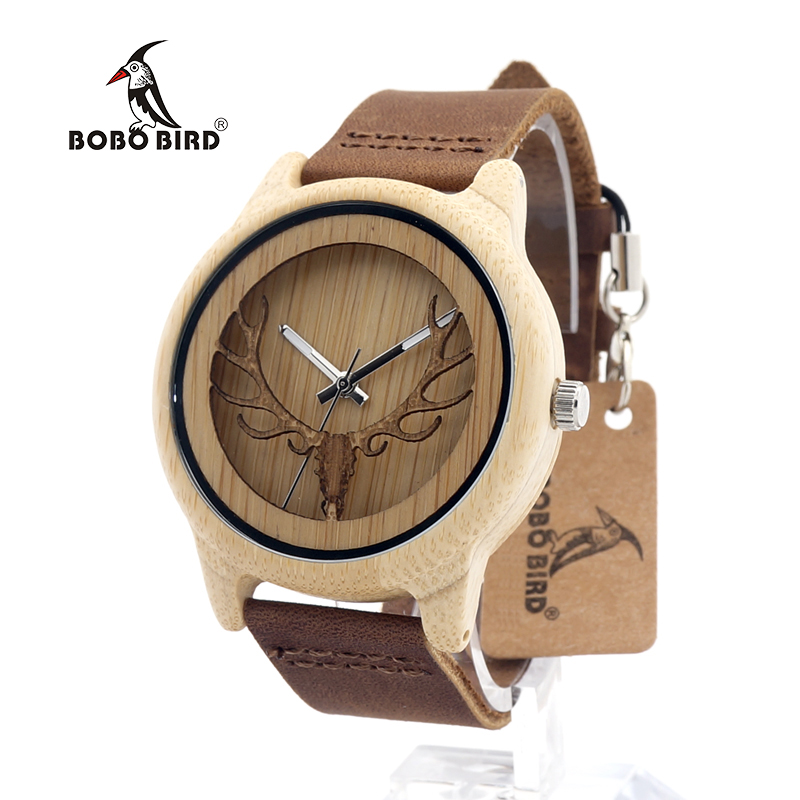 BOBO BIRD CA27 Hollow Deer Head Bamboo Wood Casual Watches for Men Women laides Genuine Leather Strap Quartz Watch free shipping bobo bird bamboo wood quartz watch men women japanese majoy movement soft silicone strap casual ladies watch wristwatch for gift