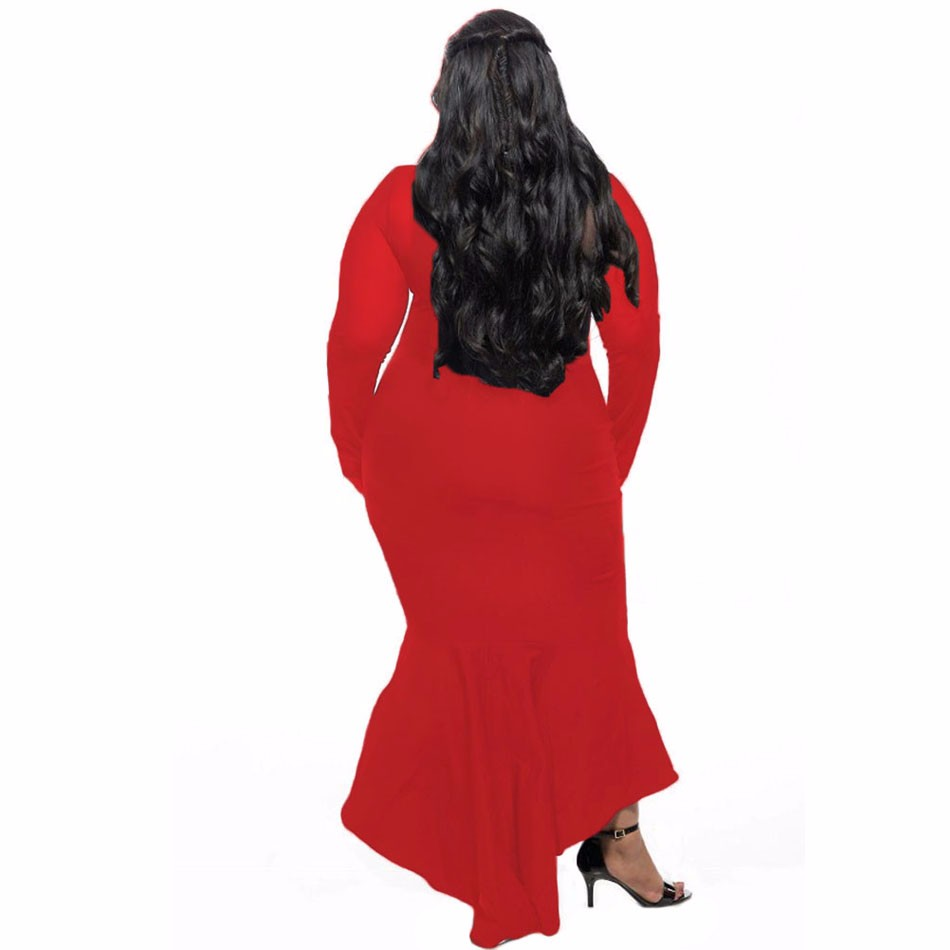 Red-Sheer-Mesh-Splice-Curvy-Mermaid-Dress-LC61086-3-2