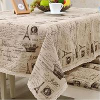 linen cotton table cloth small crown letter printed lace edge tablecloth wedding party supply