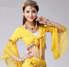Tribal Belly Dance Lace Butterfly Sleeve Wrap Top India Bollywood Girl Top For Christmas Yellow Purple 4XL Free Shipping(China)