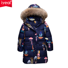 IYEAL Fashion Winter White Duck Down Jacket Children Long Coat Parkas Thickening Girls Warm Clothes for 6-12 Years Kids Outwear(China)