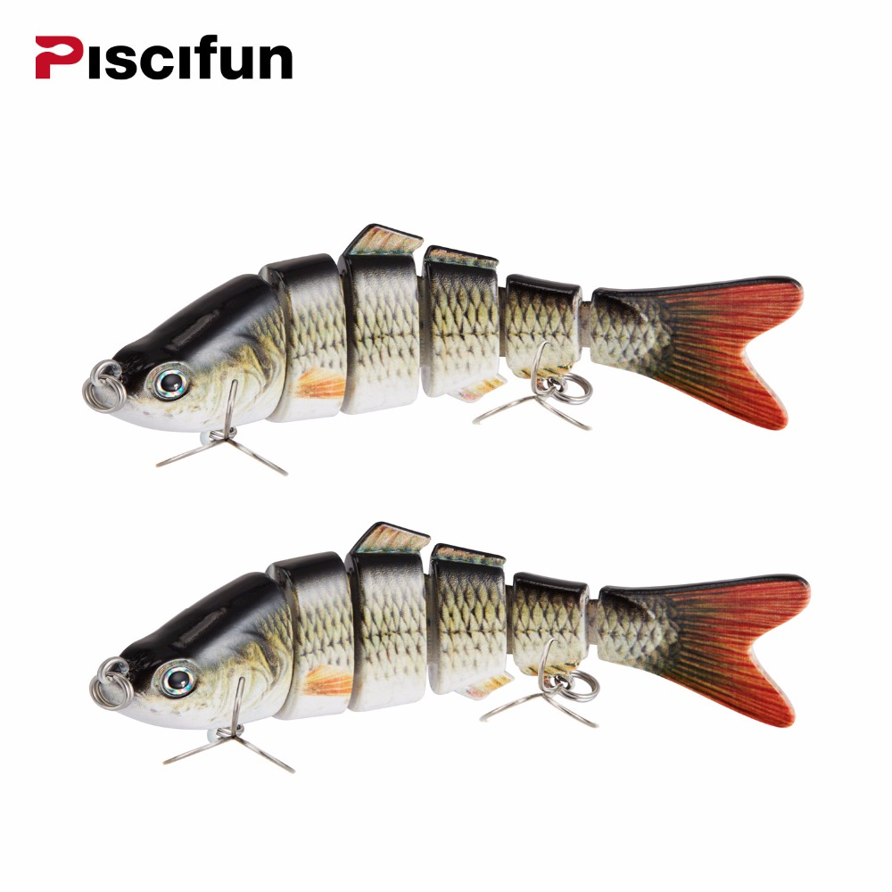 Piscifun 2 Pieces Fishing Lure 10cm 20g 3D Eyes 6-Segment Fishing Hard Lure Crankbait With 2 Hook Fishing Baits Pesca Cebo fishing baits with hook color assorted 5 pack