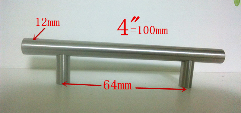 (Diameter 12mm,Length:100mm) 4  Furniture Hardware Kitchen Cabinet Handle, Bar Pull Handle Stainless Steel T Handles 2pcs set stainless steel 90 degree self closing cabinet closet door hinges home roomfurniture hardware accessories supply