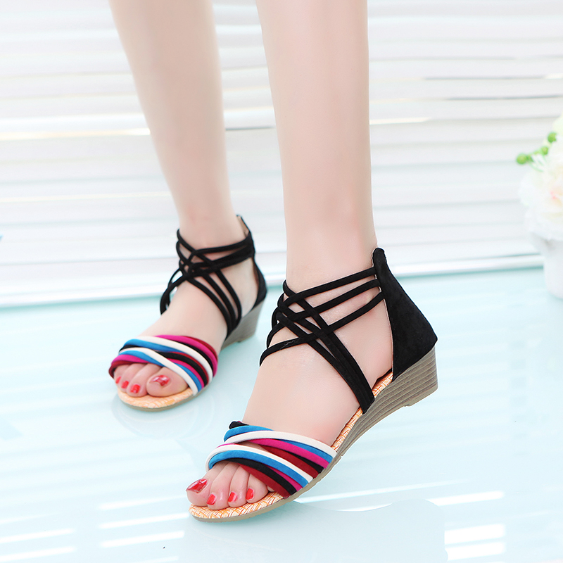 2017 New Women Sandals Vintage Gladiator Wedges Shoes Bohemia Sandal Woman Beach Flip Flops Lace Up Summer Shoes OR891387 female gladiator wedges sandal hallow out platforms high wedge shoes women rivets summer sandal beach vintage women size 34 39