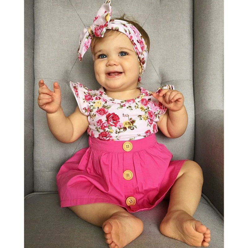 Childrens suit 2018 summer new style girls flying sleeves flower T-shirt + pink skirt +  ...
