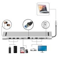 USB C док станции алюминиевый Multi порт HDMI/VGA/Mini DP/SD/RJ45/ USB3.0/USB C Женский конвертер для MacBook Chromebook Pixel