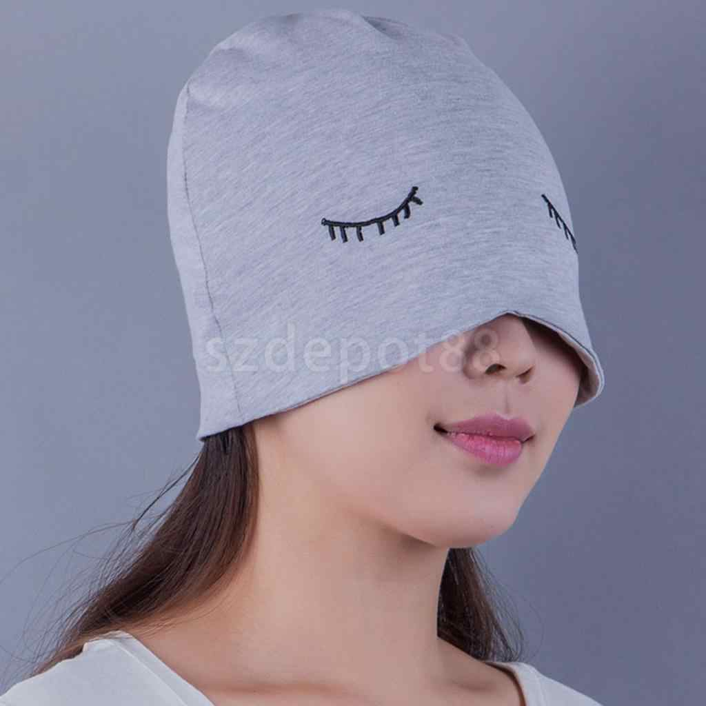 dc294c6e7e9 ... Adult Unisex Knitted Sleeping Night Cap Eyecover Eyelash Design Cute Sleep  Hats ...