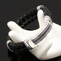 TS Two Levels Black Zironia Plaited Leather Bracelets 20cm Thomas Style Heart Rebel 925 Sterling Silver