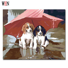 WEEN Dog Pictures Painting By Numbers Modern DIY Animal Handwork On Canvas Oil Couple and umbrella Art Coloring Home Decor