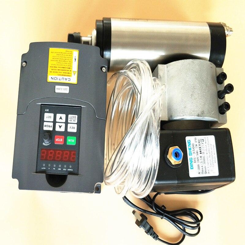 New Cnc Router Spindel Cnc 220v Spindle Motor 2.2kw 4 Bearings 8.5A & Inverter Water Pump Clamp Er20 Collet Set For Engraver