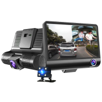 4 Inch HD 1080P 3 Len Car DVR Camera New Dual Lens Vehicle Camcorder Dash Cam G sensor Video Recorder DVR Rearview Mirror Camera