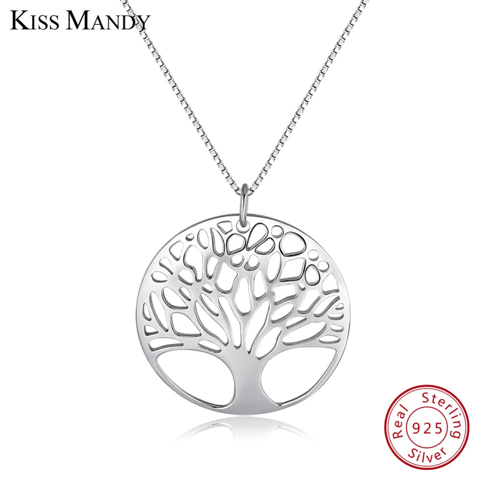 KISS MANDY Real 925 Sterling Silver Women Necklaces Polished Tree of Life Pendant Fashion Female  Special Unique Jewelry KSN90KISS MANDY Real 925 Sterling Silver Women Necklaces Polished Tree of Life Pendant Fashion Female  Special Unique Jewelry KSN90