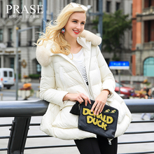 Prase women's 2016 winter large fur collar loose a mantle type down coat female