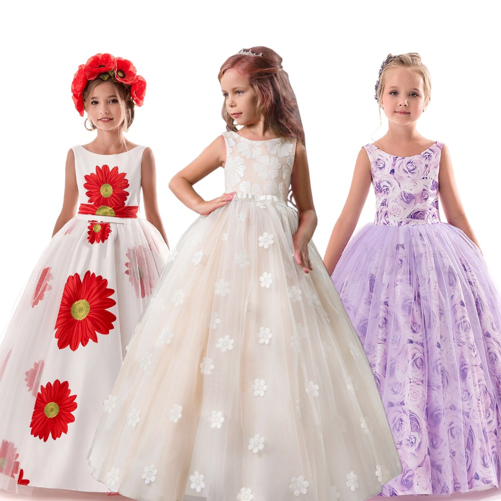 WHITE Flower Girl Dress Gown Wedding Bridesmaid Birthday Communion Dance Pageant
