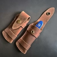 Pierwsza warstwa skóry nóż pokrywa pochwa brązowa potrójne ostrze krotnie zewnątrz EDC wysokiej jakości narzędzie szczypce zacisk etui w Zewnętrzne narzędzia od Sport i rozrywka na