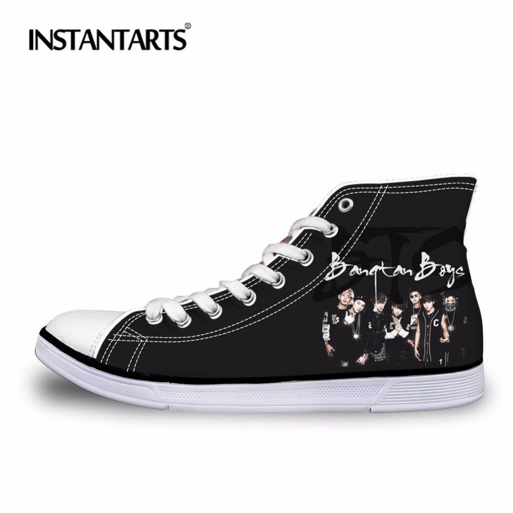 INSTANTARTS Stylish Kpop BTS Walking Shoes Classic Women Men High Top Canvas Shoes Student Girls Sneaker Outdoor Flat Sport Shoe