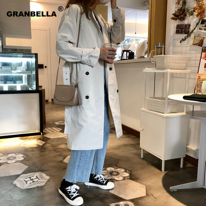 Top women casual solid color double breasted outwear sashes office coat chic epaulet design long   trench