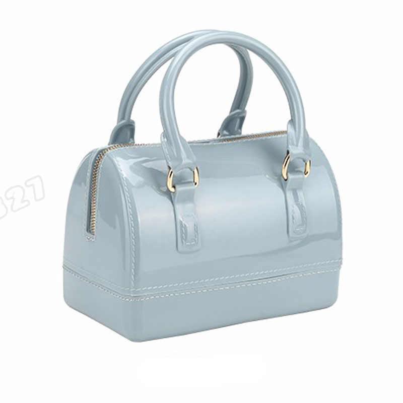 JELLYOOY маленький размер 18 см ПВХ Мини Женская Желейная сумка детская подушка сумка на плечо карамельный цвет Силиконовая Сумка-тоут пляжная сумка-мессенджер