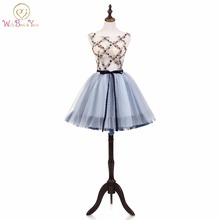 Walk Beside You Prom Dresses 2018 Ball Gown Gray Short Evening Party Gown Graduation Sleeveless Flower