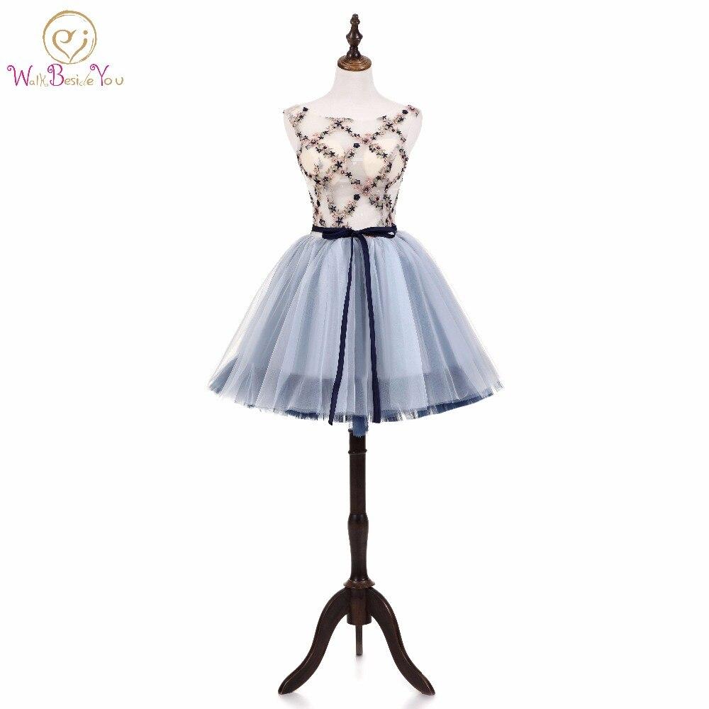 Walk Beside You   Prom     Dresses   2018 Ball Gown Gray Short Evening Party Gown Graduation Sleeveless Flower Embroidery vestidos-de